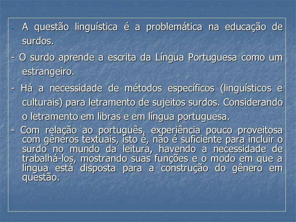 - A questão linguística é a problemática na educação de surdos. - O surdo aprende a escrita da Língua Portuguesa como um estrangeiro. - Há a necessida