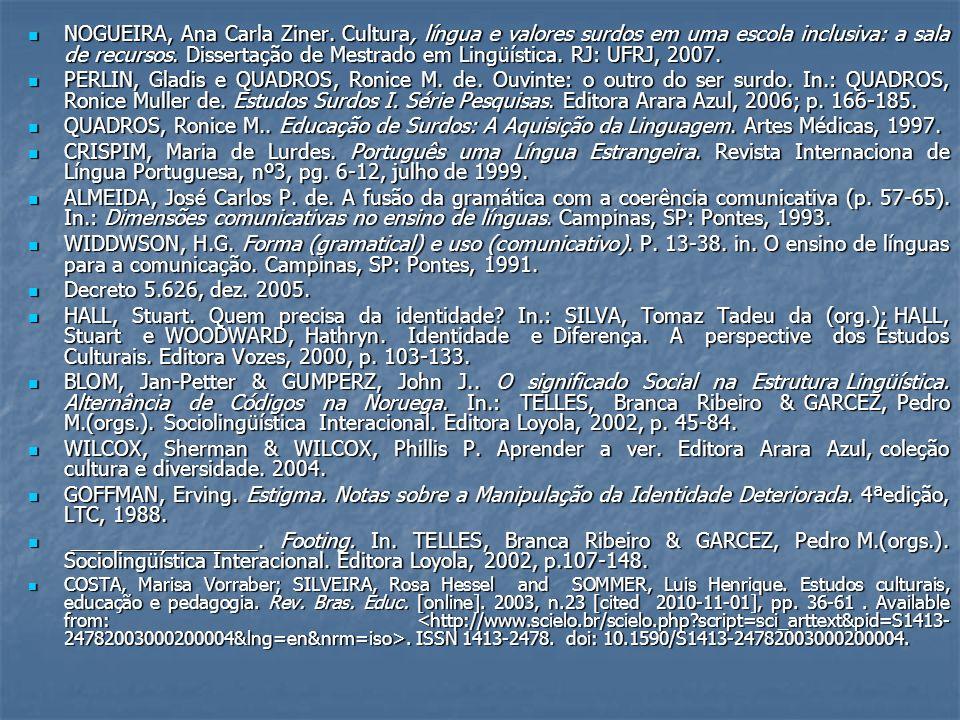 NOGUEIRA, Ana Carla Ziner. Cultura, língua e valores surdos em uma escola inclusiva: a sala de recursos. Dissertação de Mestrado em Lingüística. RJ: U