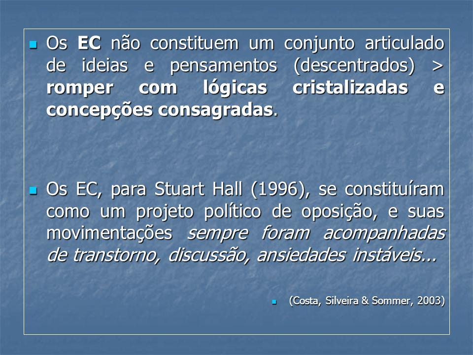 Os EC não constituem um conjunto articulado de ideias e pensamentos (descentrados) > romper com lógicas cristalizadas e concepções consagradas. Os EC