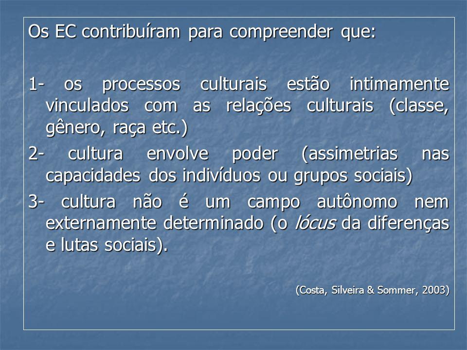 Os EC contribuíram para compreender que: 1- os processos culturais estão intimamente vinculados com as relações culturais (classe, gênero, raça etc.)