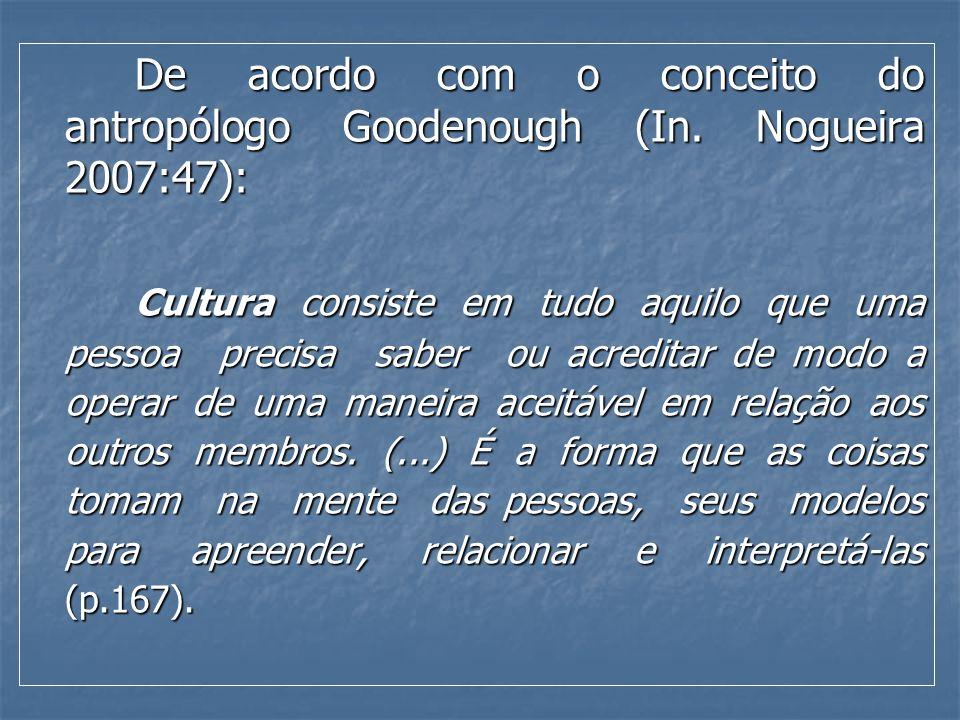 De acordo com o conceito do antropólogo Goodenough (In. Nogueira 2007:47): De acordo com o conceito do antropólogo Goodenough (In. Nogueira 2007:47):