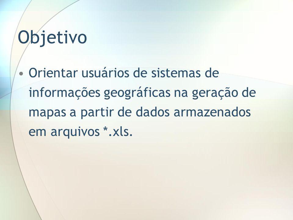 Objetivo Orientar usuários de sistemas de informações geográficas na geração de mapas a partir de dados armazenados em arquivos *.xls.