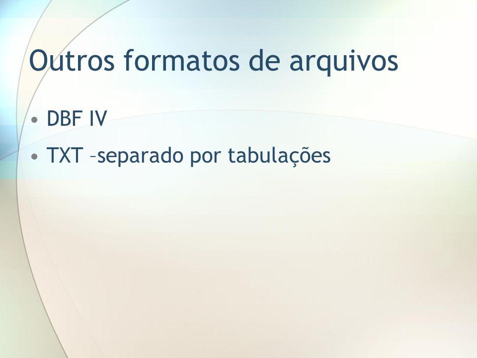 Outros formatos de arquivos DBF IV TXT –separado por tabulações
