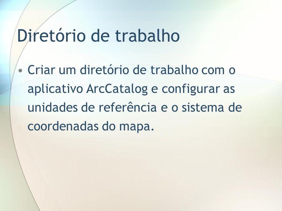 Diretório de trabalho Criar um diretório de trabalho com o aplicativo ArcCatalog e configurar as unidades de referência e o sistema de coordenadas do