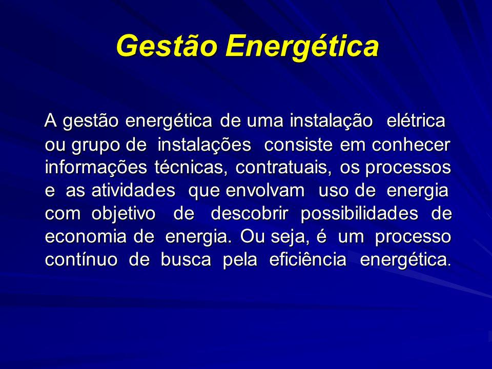 Gestão Energética A gestão energética de uma instalação elétrica ou grupo de instalações consiste em conhecer informações técnicas, contratuais, os pr