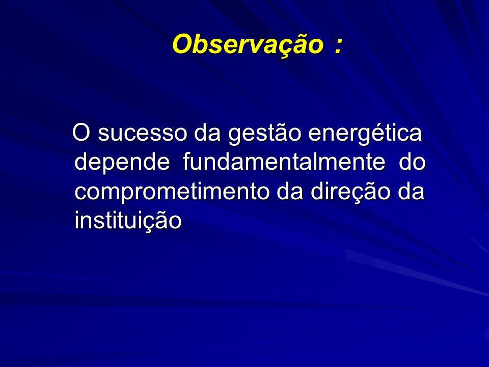 Observação : O sucesso da gestão energética depende fundamentalmente do comprometimento da direção da instituição O sucesso da gestão energética depen