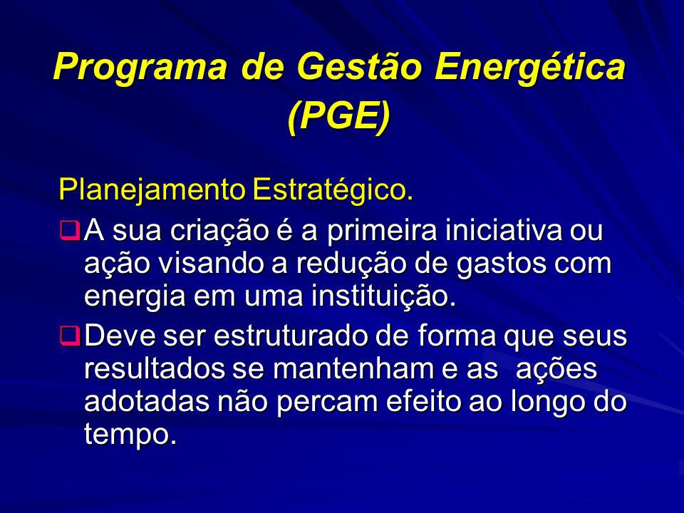 Programa de Gestão Energética (PGE) Planejamento Estratégico. A sua criação é a primeira iniciativa ou ação visando a redução de gastos com energia em