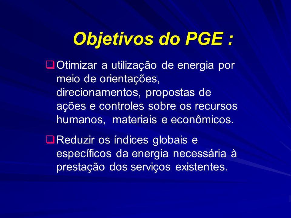 Objetivos do PGE : Otimizar a utilização de energia por meio de orientações, direcionamentos, propostas de ações e controles sobre os recursos humanos