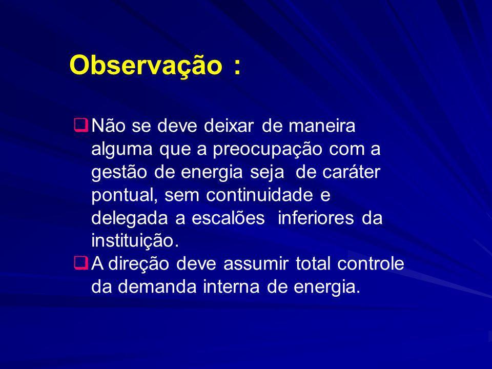 Observação : Não se deve deixar de maneira alguma que a preocupação com a gestão de energia seja de caráter pontual, sem continuidade e delegada a esc