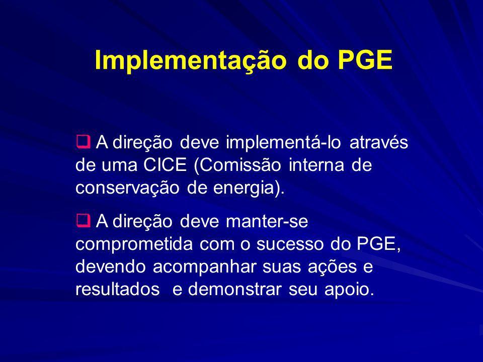 Implementação do PGE A direção deve implementá-lo através de uma CICE (Comissão interna de conservação de energia). A direção deve manter-se compromet
