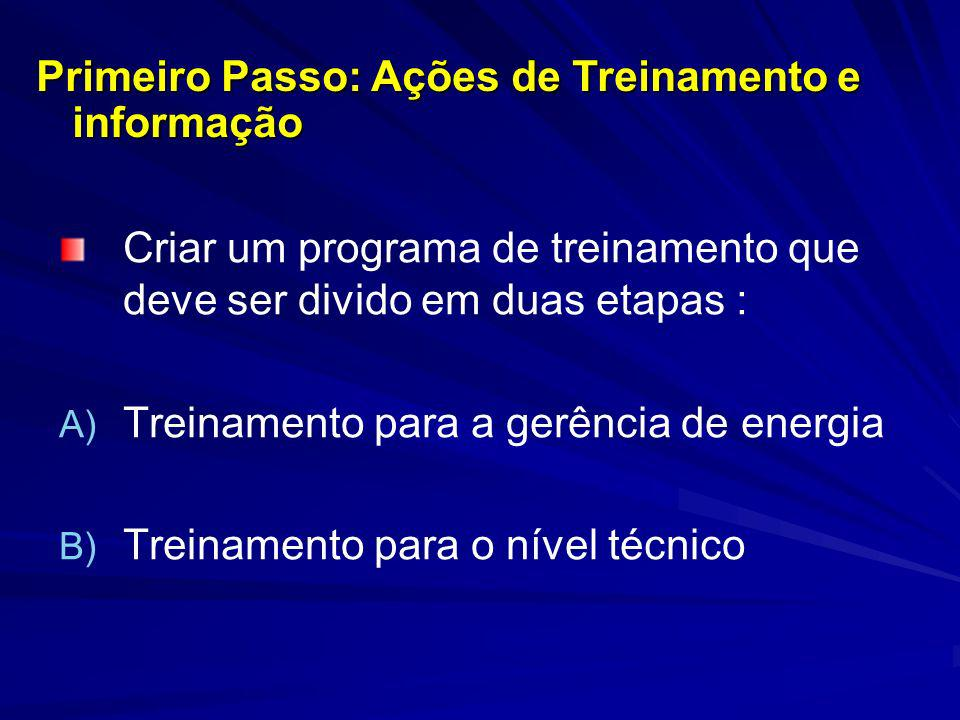 Criar um programa de treinamento que deve ser divido em duas etapas : A) A) Treinamento para a gerência de energia B) B) Treinamento para o nível técn