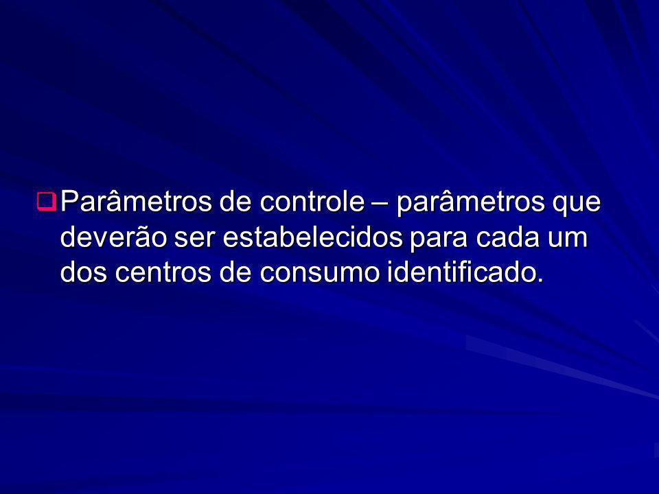 Parâmetros de controle – parâmetros que deverão ser estabelecidos para cada um dos centros de consumo identificado. Parâmetros de controle – parâmetro