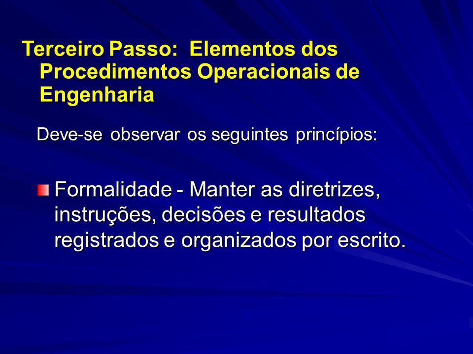 Deve-se observar os seguintes princípios: Formalidade - Manter as diretrizes, instruções, decisões e resultados registrados e organizados por escrito.