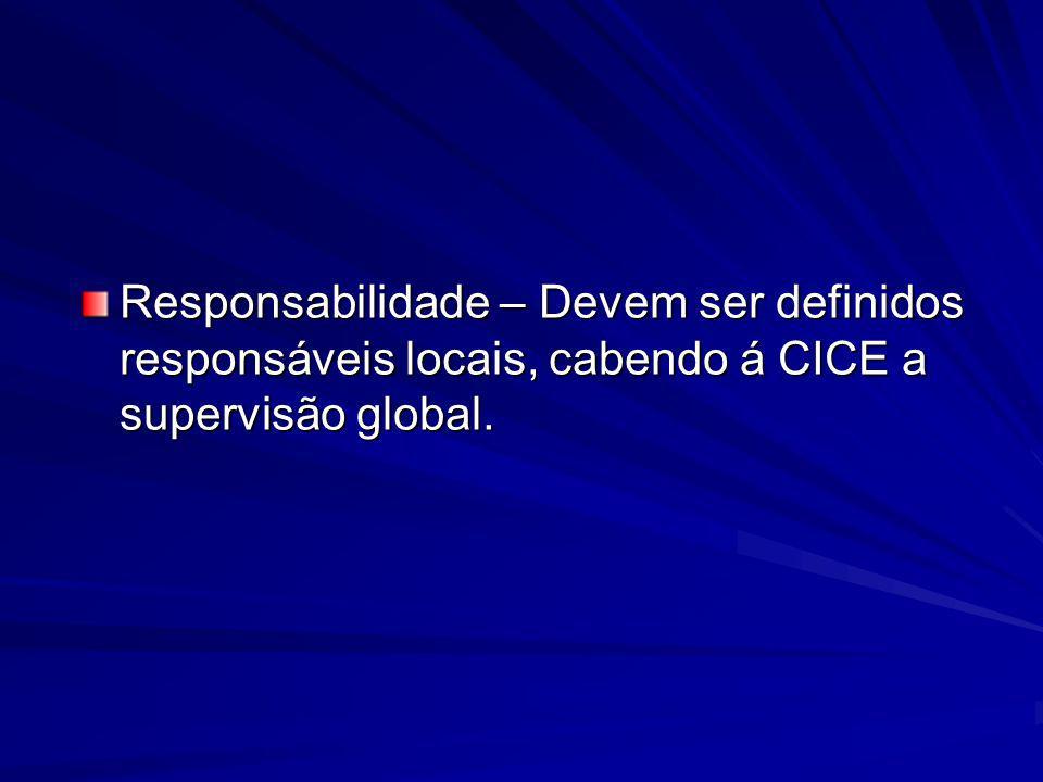 Responsabilidade – Devem ser definidos responsáveis locais, cabendo á CICE a supervisão global.