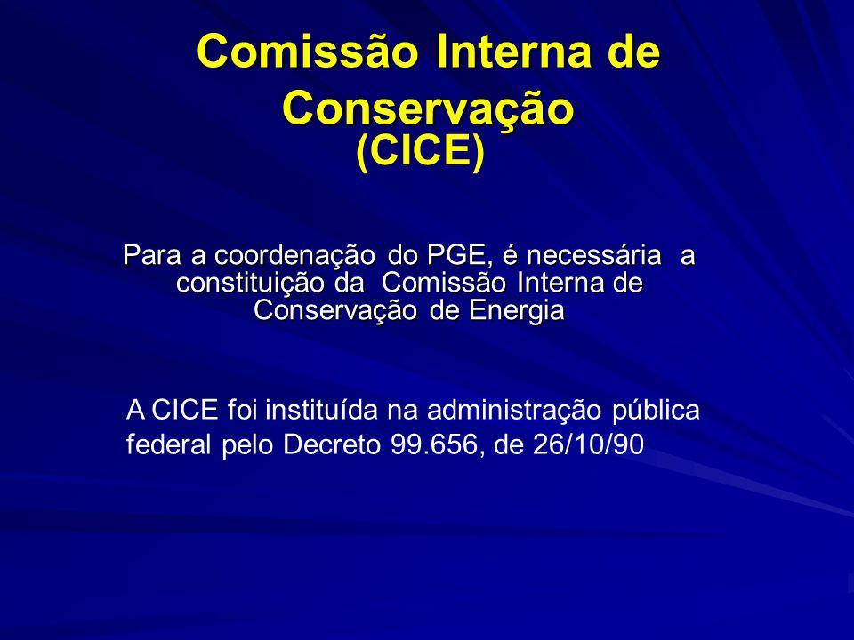 Comissão Interna de Conservação Para a coordenação do PGE, é necessária a constituição da Comissão Interna de Conservação de Energia Para a coordenaçã