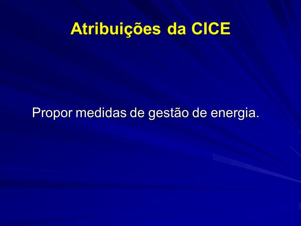 Atribuições da CICE Propor medidas de gestão de energia. Propor medidas de gestão de energia.