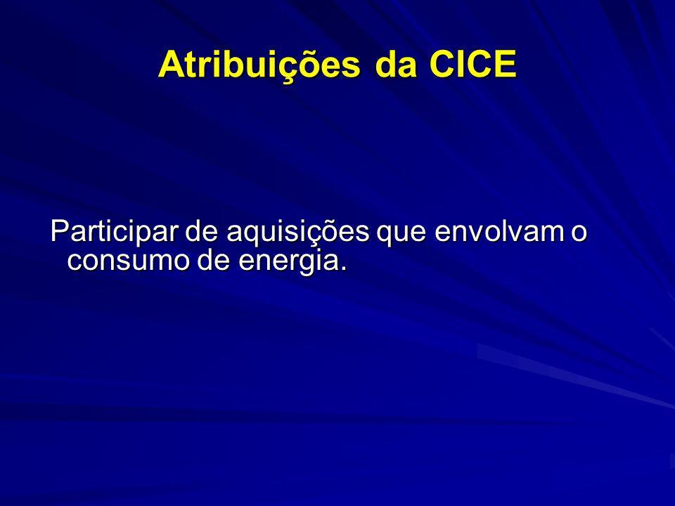 Atribuições da CICE Participar de aquisições que envolvam o consumo de energia. Participar de aquisições que envolvam o consumo de energia.
