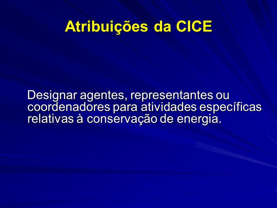 Atribuições da CICE Designar agentes, representantes ou coordenadores para atividades específicas relativas à conservação de energia. Designar agentes