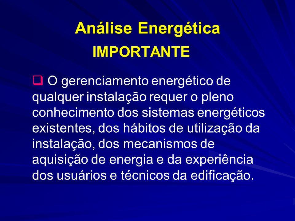Análise Energética IMPORTANTE O gerenciamento energético de qualquer instalação requer o pleno conhecimento dos sistemas energéticos existentes, dos h