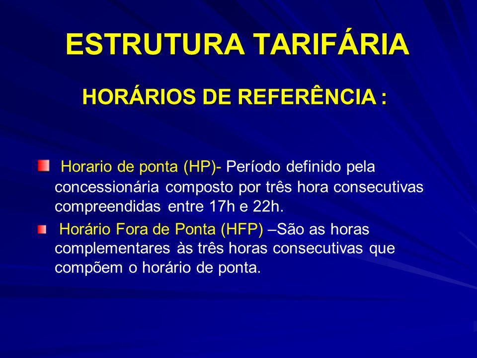 ESTRUTURA TARIFÁRIA Horario de ponta (HP)- Período definido pela concessionária composto por três hora consecutivas compreendidas entre 17h e 22h. Hor