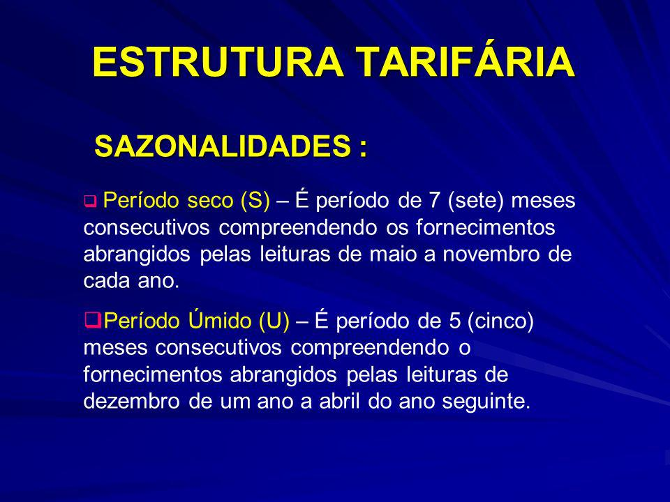 ESTRUTURA TARIFÁRIA SAZONALIDADES : Período seco (S) – É período de 7 (sete) meses consecutivos compreendendo os fornecimentos abrangidos pelas leitur