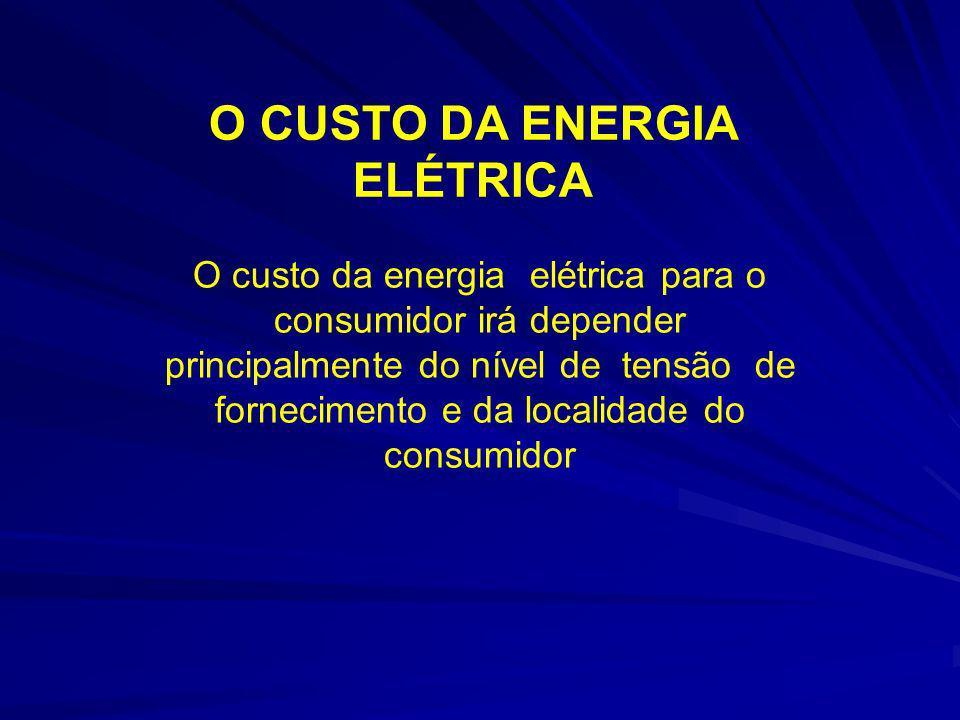 O CUSTO DA ENERGIA ELÉTRICA O custo da energia elétrica para o consumidor irá depender principalmente do nível de tensão de fornecimento e da localida