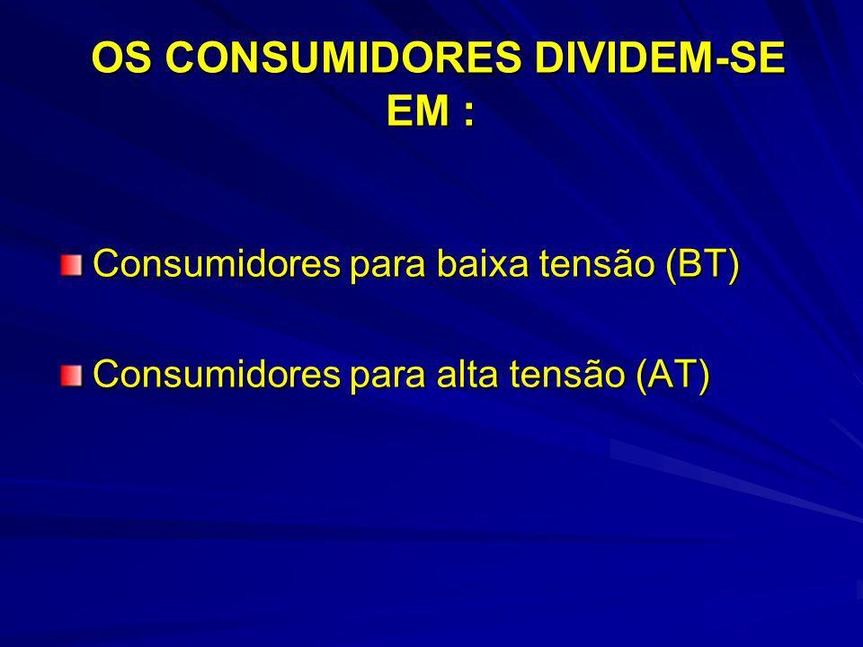 OS CONSUMIDORES DIVIDEM-SE EM : OS CONSUMIDORES DIVIDEM-SE EM : Consumidores para baixa tensão (BT) Consumidores para alta tensão (AT)
