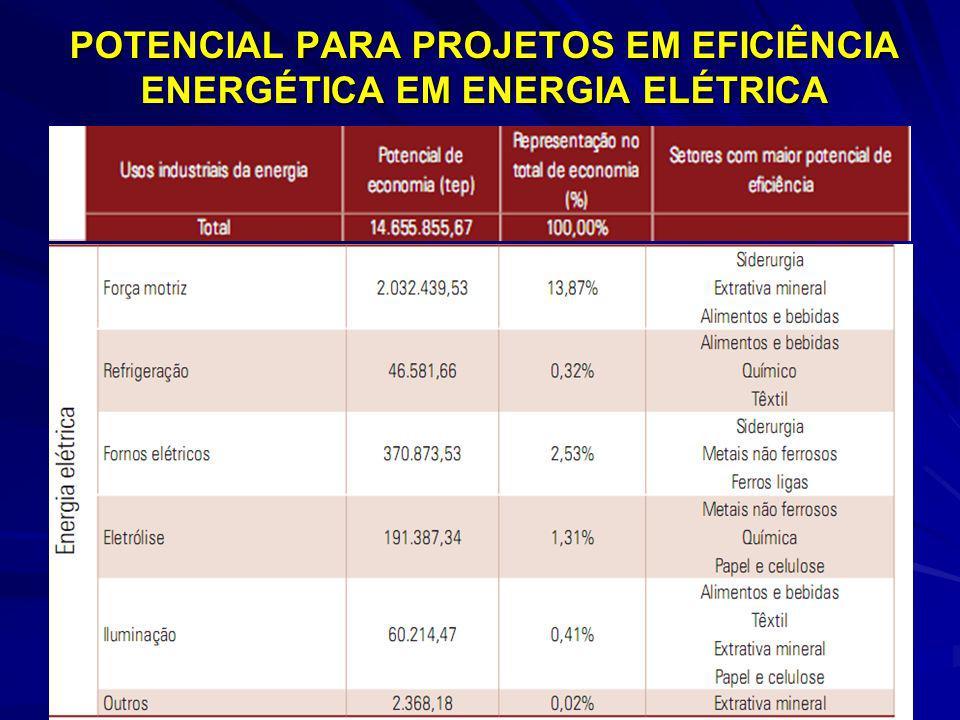 POTENCIAL PARA PROJETOS EM EFICIÊNCIA ENERGÉTICA EM ENERGIA ELÉTRICA