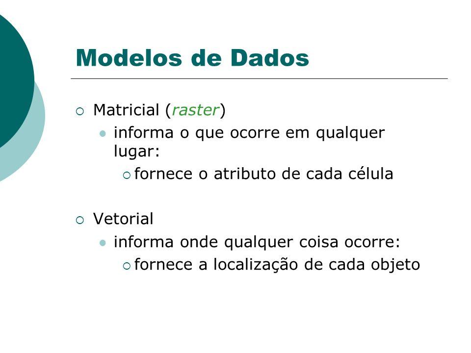 Modelos de Dados Matricial (raster) informa o que ocorre em qualquer lugar: fornece o atributo de cada célula Vetorial informa onde qualquer coisa oco