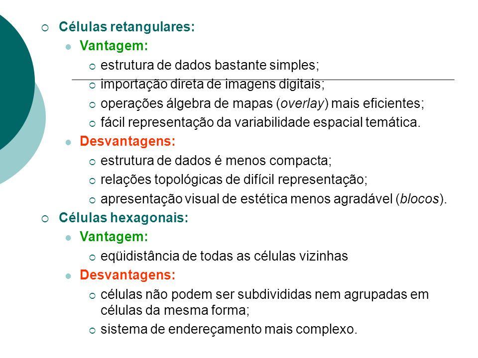 Células retangulares: Vantagem: estrutura de dados bastante simples; importação direta de imagens digitais; operações álgebra de mapas (overlay) mais