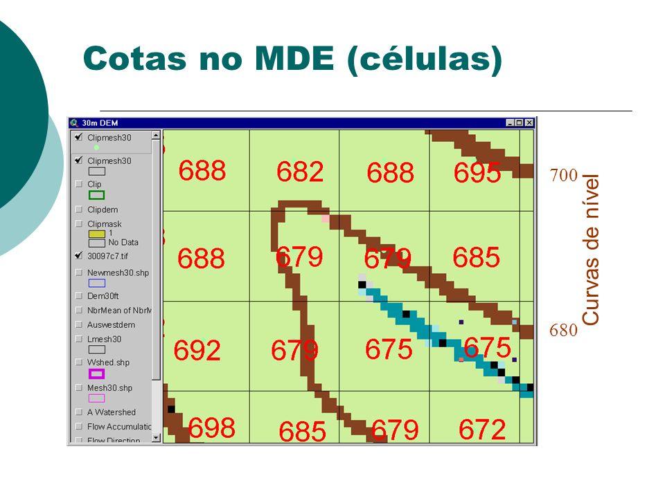 Cotas no MDE (células) 700 680 Curvas de nível