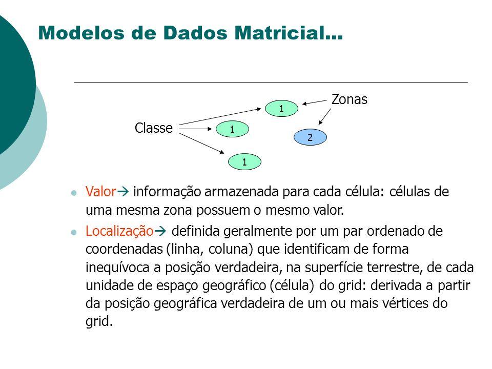 Valor informação armazenada para cada célula: células de uma mesma zona possuem o mesmo valor. Localização definida geralmente por um par ordenado de