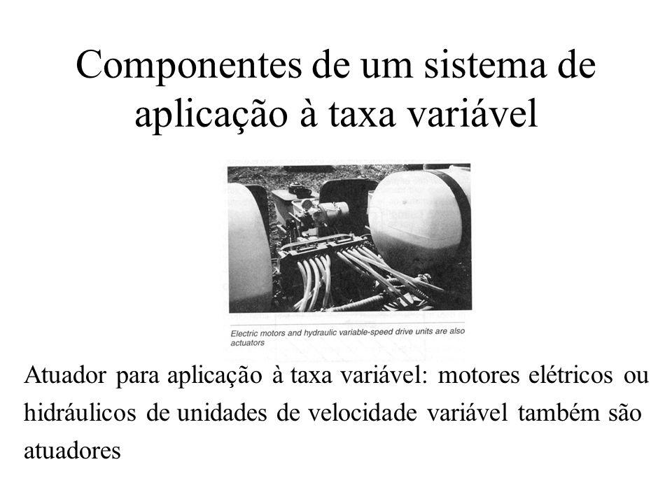 Componentes de um sistema de aplicação à taxa variável Atuador para aplicação à taxa variável: motores elétricos ou hidráulicos de unidades de velocid