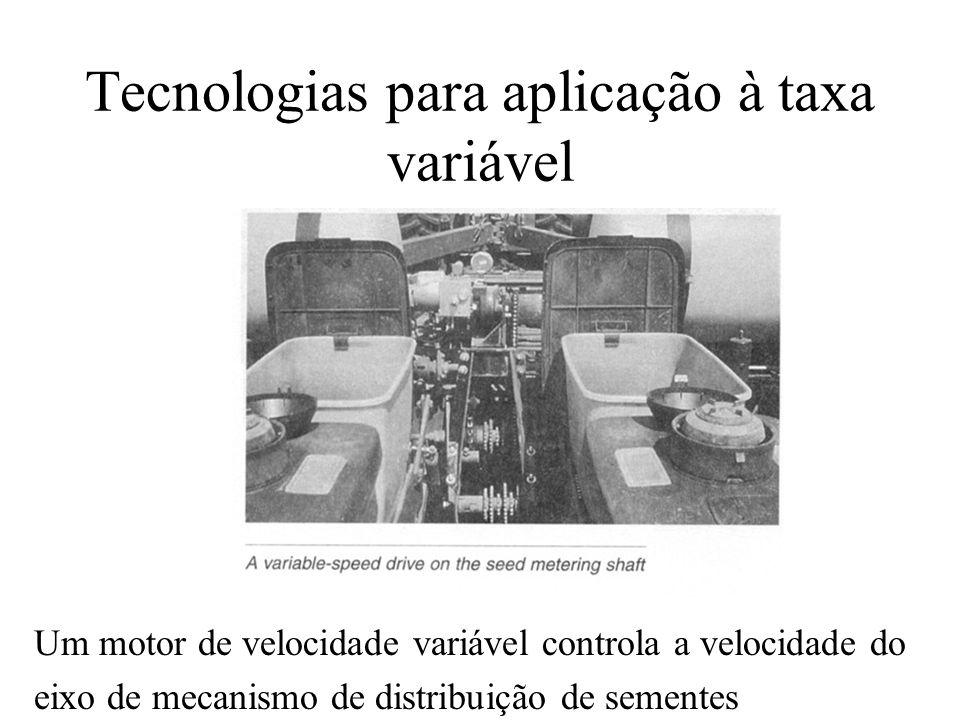 Tecnologias para aplicação à taxa variável Um motor de velocidade variável controla a velocidade do eixo de mecanismo de distribuição de sementes