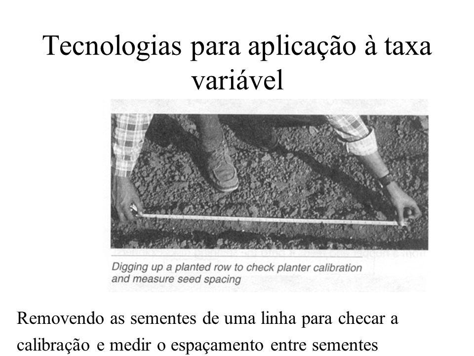 Tecnologias para aplicação à taxa variável Removendo as sementes de uma linha para checar a calibração e medir o espaçamento entre sementes