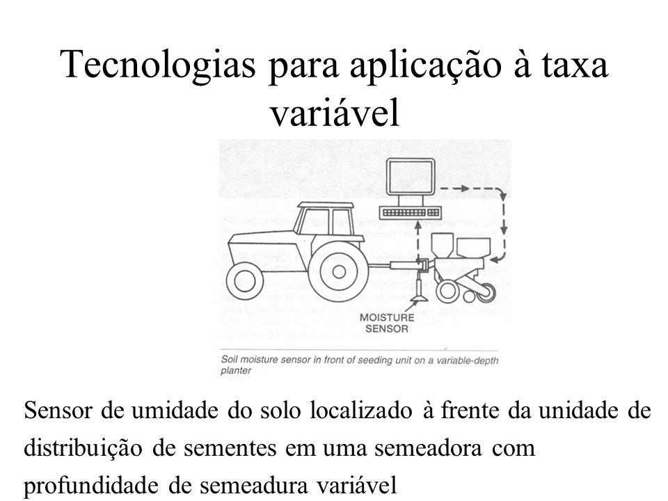 Tecnologias para aplicação à taxa variável Sensor de umidade do solo localizado à frente da unidade de distribuição de sementes em uma semeadora com p