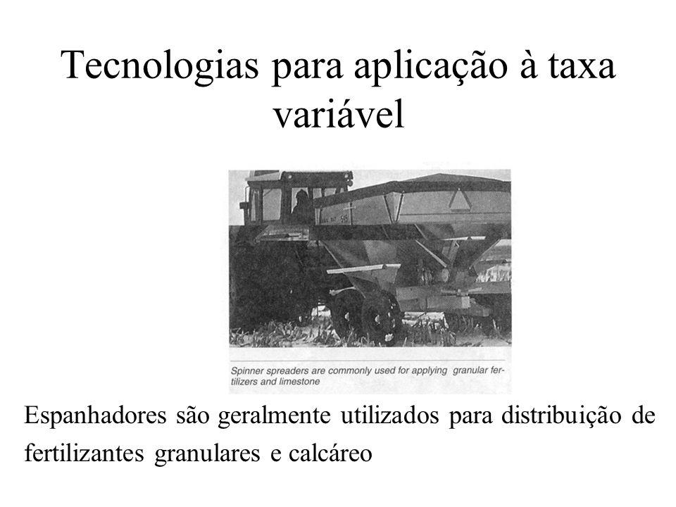 Tecnologias para aplicação à taxa variável Espanhadores são geralmente utilizados para distribuição de fertilizantes granulares e calcáreo