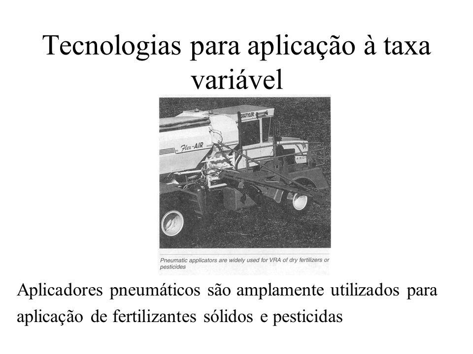 Tecnologias para aplicação à taxa variável Aplicadores pneumáticos são amplamente utilizados para aplicação de fertilizantes sólidos e pesticidas