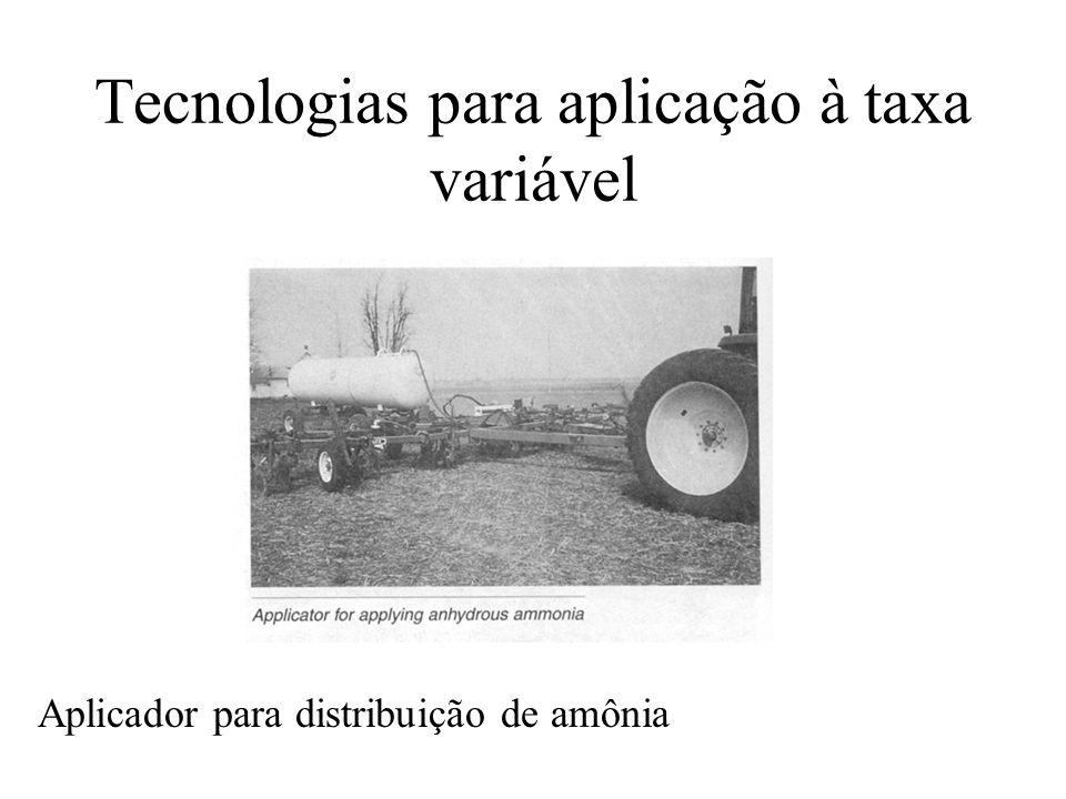 Tecnologias para aplicação à taxa variável Aplicador para distribuição de amônia