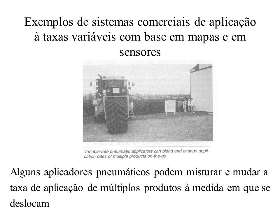 Exemplos de sistemas comerciais de aplicação à taxas variáveis com base em mapas e em sensores Alguns aplicadores pneumáticos podem misturar e mudar a