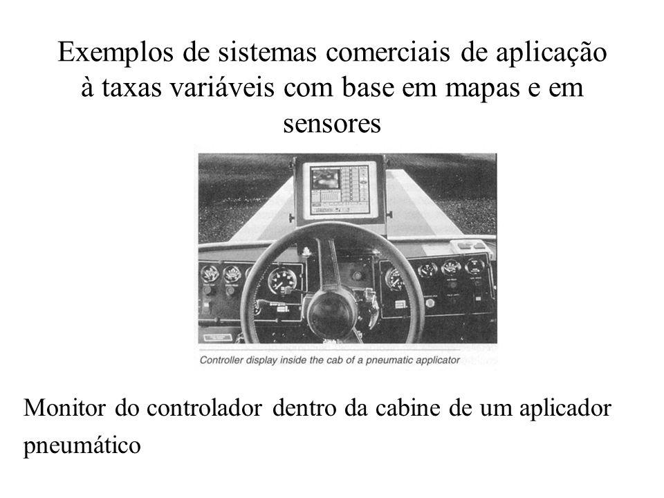 Exemplos de sistemas comerciais de aplicação à taxas variáveis com base em mapas e em sensores Monitor do controlador dentro da cabine de um aplicador