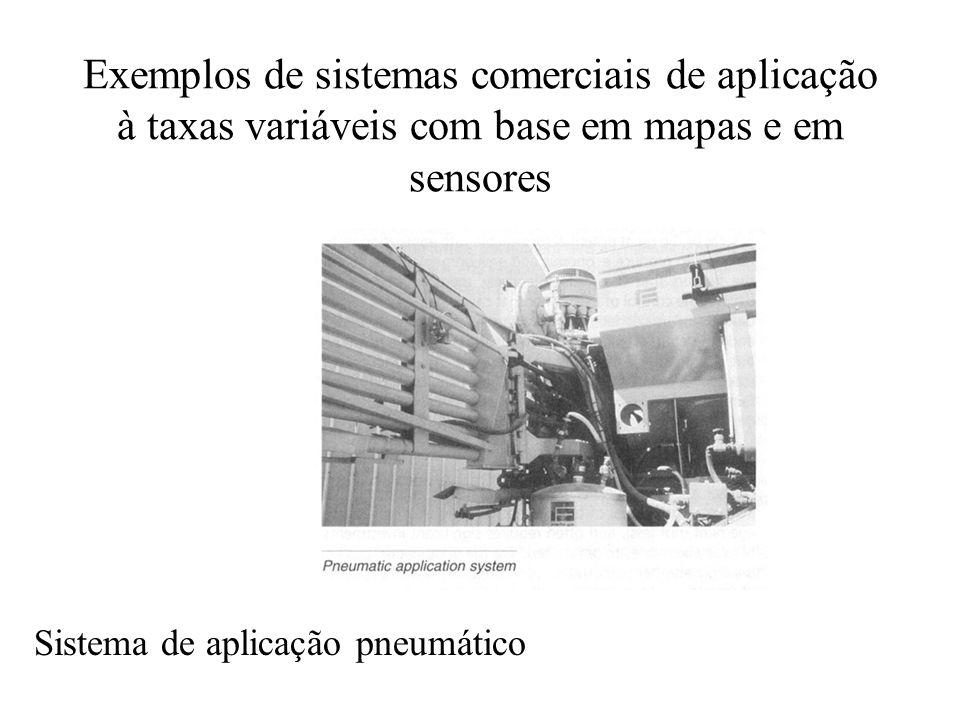 Exemplos de sistemas comerciais de aplicação à taxas variáveis com base em mapas e em sensores Sistema de aplicação pneumático