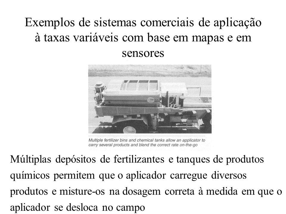 Exemplos de sistemas comerciais de aplicação à taxas variáveis com base em mapas e em sensores Múltiplas depósitos de fertilizantes e tanques de produ