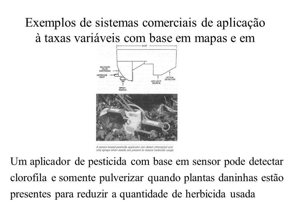Exemplos de sistemas comerciais de aplicação à taxas variáveis com base em mapas e em sensores Um aplicador de pesticida com base em sensor pode detec