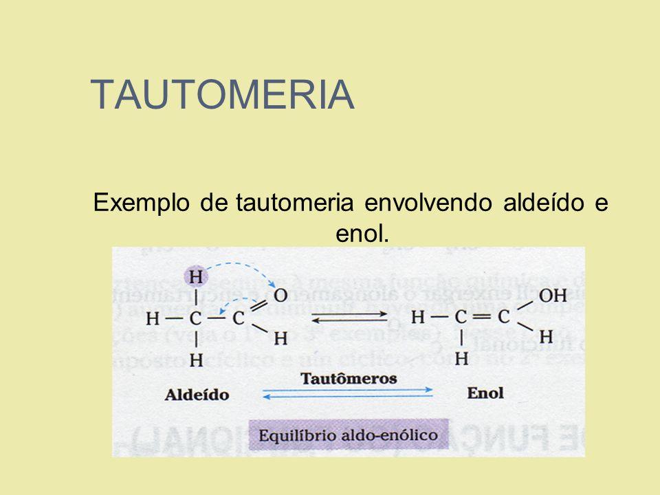 TAUTOMERIA Exemplo de tautomeria envolvendo aldeído e enol.