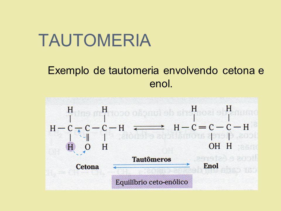 TAUTOMERIA Exemplo de tautomeria envolvendo cetona e enol.