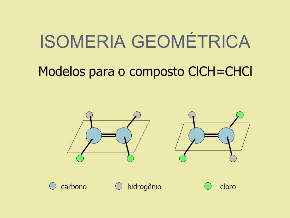 ISOMERIA GEOMÉTRICA Modelos para o composto ClCH=CHCl carbono hidrogênio cloro