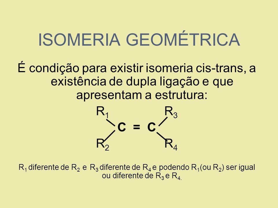 ISOMERIA GEOMÉTRICA É condição para existir isomeria cis-trans, a existência de dupla ligação e que apresentam a estrutura: R 1 R 3 C = C R 2 R 4 R 1