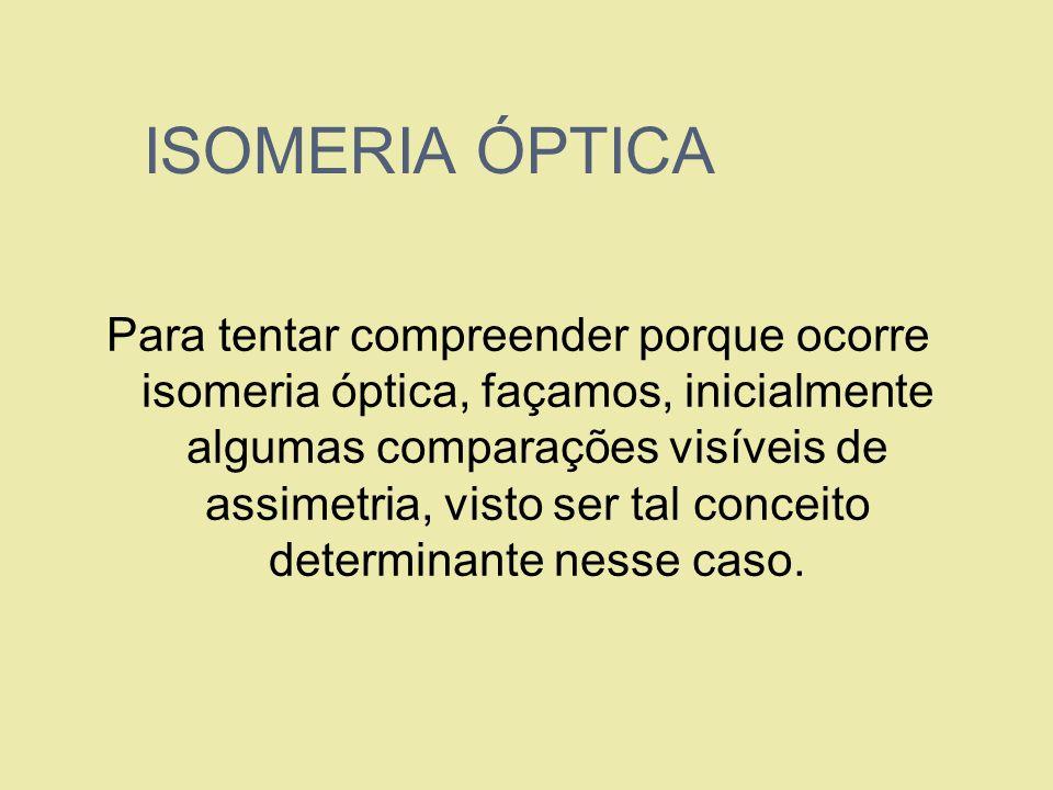 ISOMERIA ÓPTICA Para tentar compreender porque ocorre isomeria óptica, façamos, inicialmente algumas comparações visíveis de assimetria, visto ser tal