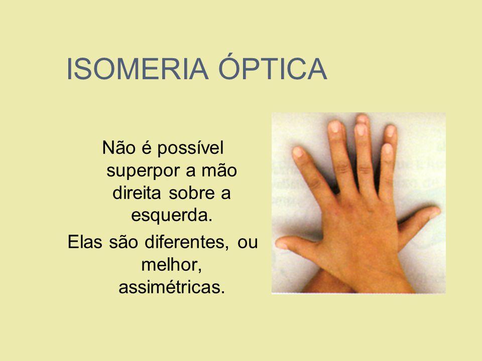 ISOMERIA ÓPTICA Não é possível superpor a mão direita sobre a esquerda. Elas são diferentes, ou melhor, assimétricas.